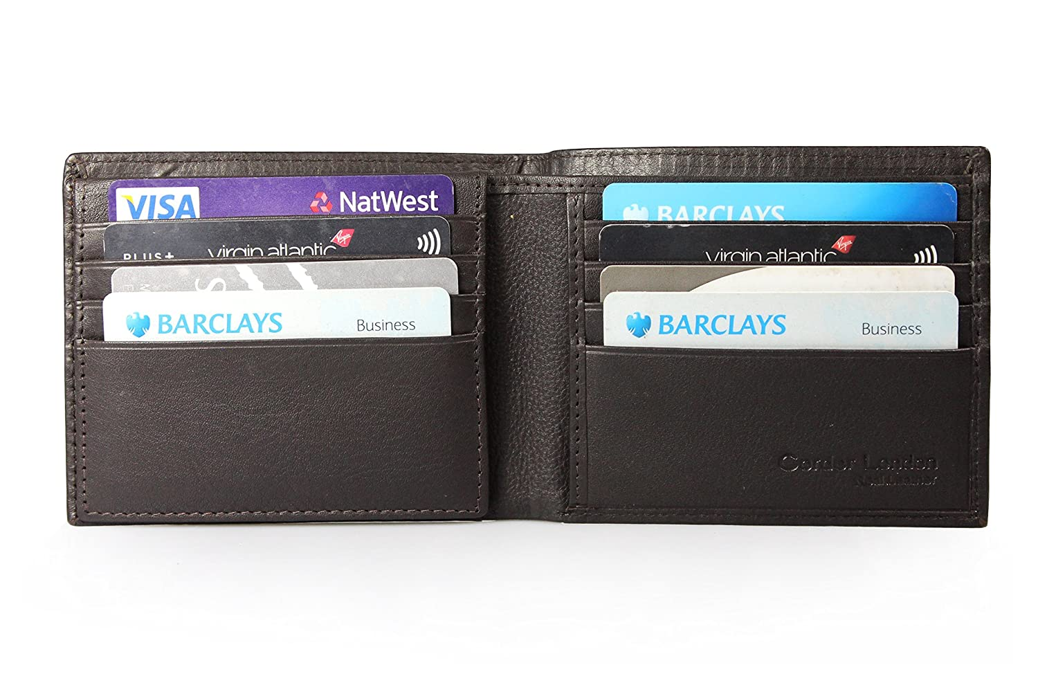 Mens Premium Full Grain Leather Trifold Wallet lambskin with 12 card ...