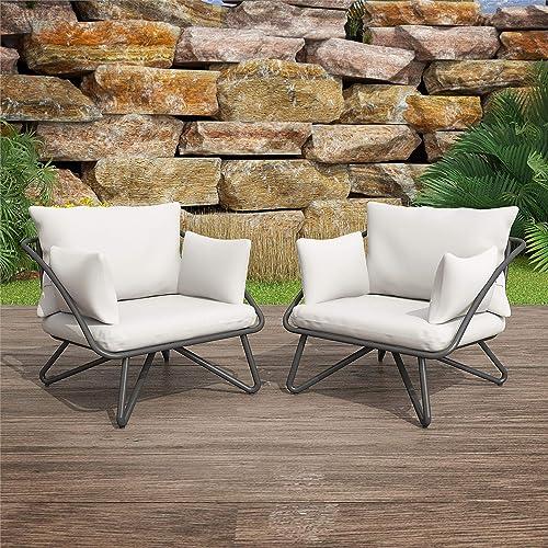 Novogratz Poolside Gossip Collection, Teddi Outdoor, 2-Piece, Charcoal Patio-Lounge-Chairs