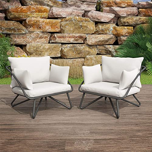 Novogratz 88061CWGE Poolside Gossip Collection, Teddi Outdoor, 2-Piece, Charcoal Patio-Lounge-Chairs