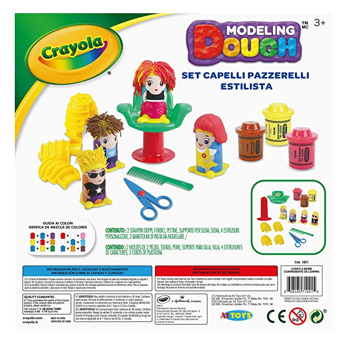 Amazon.com: Crayola Hair Stylist Playset Modeling Dough, Multicolor ...