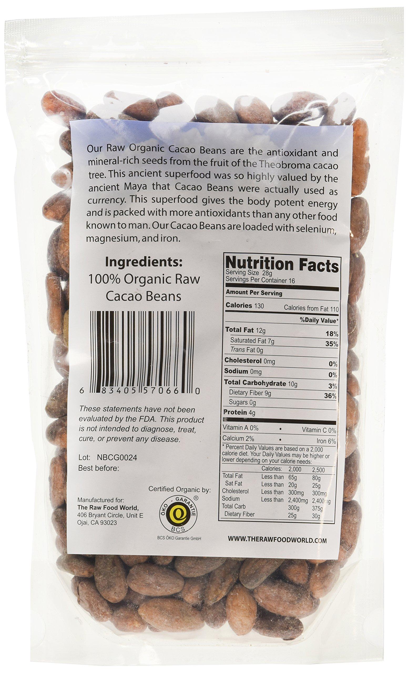 Raw Organic Cacao Beans, 16oz, The Raw Food World