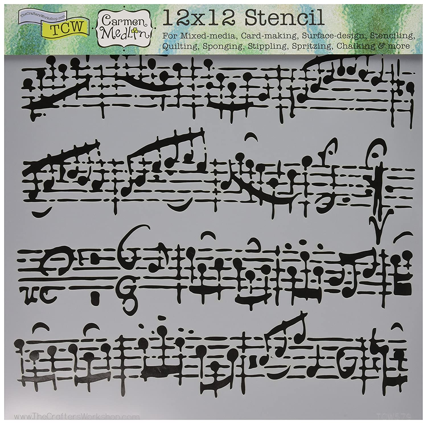 Crafters Workshop Plastic Template 12-inch x 12-inch Sheet Music TCW-579