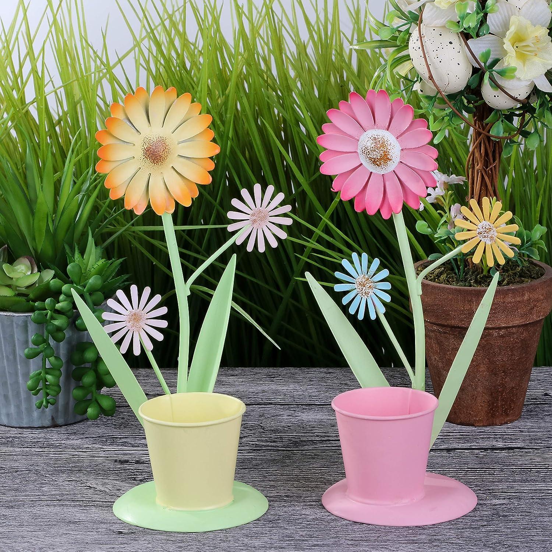 Valery Madelyn D/écorations de P/âques,2pcs M/étal Jardin Tournesol Plante Pot D/écoration(Printemps Color/é)