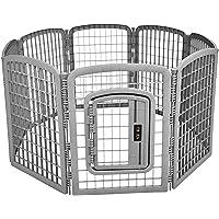 AmazonBasics 8-Panel Plastic Pet Pen Fence Enclosure With Gate - 64 x 64 x 34 Inches, Grey
