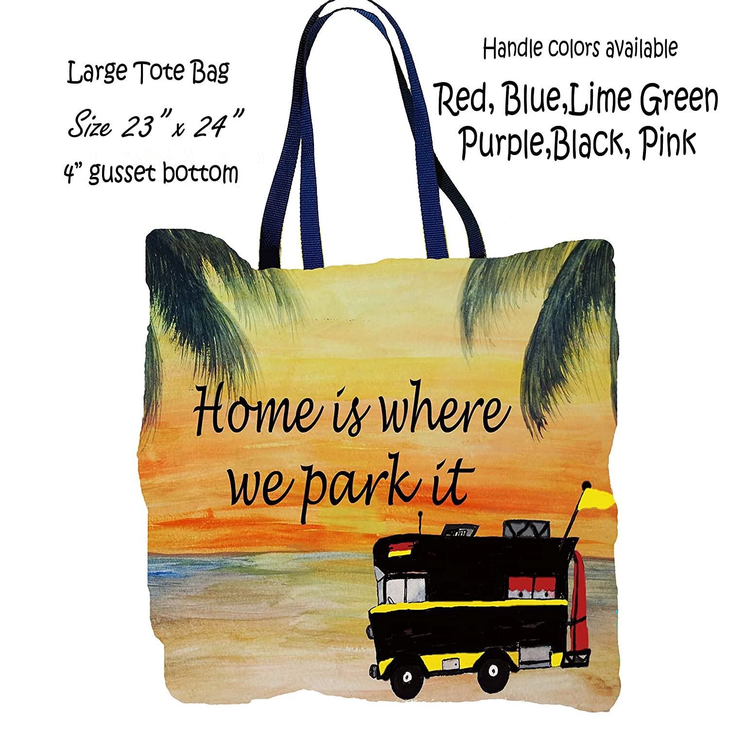 RV camper camping large tote bag