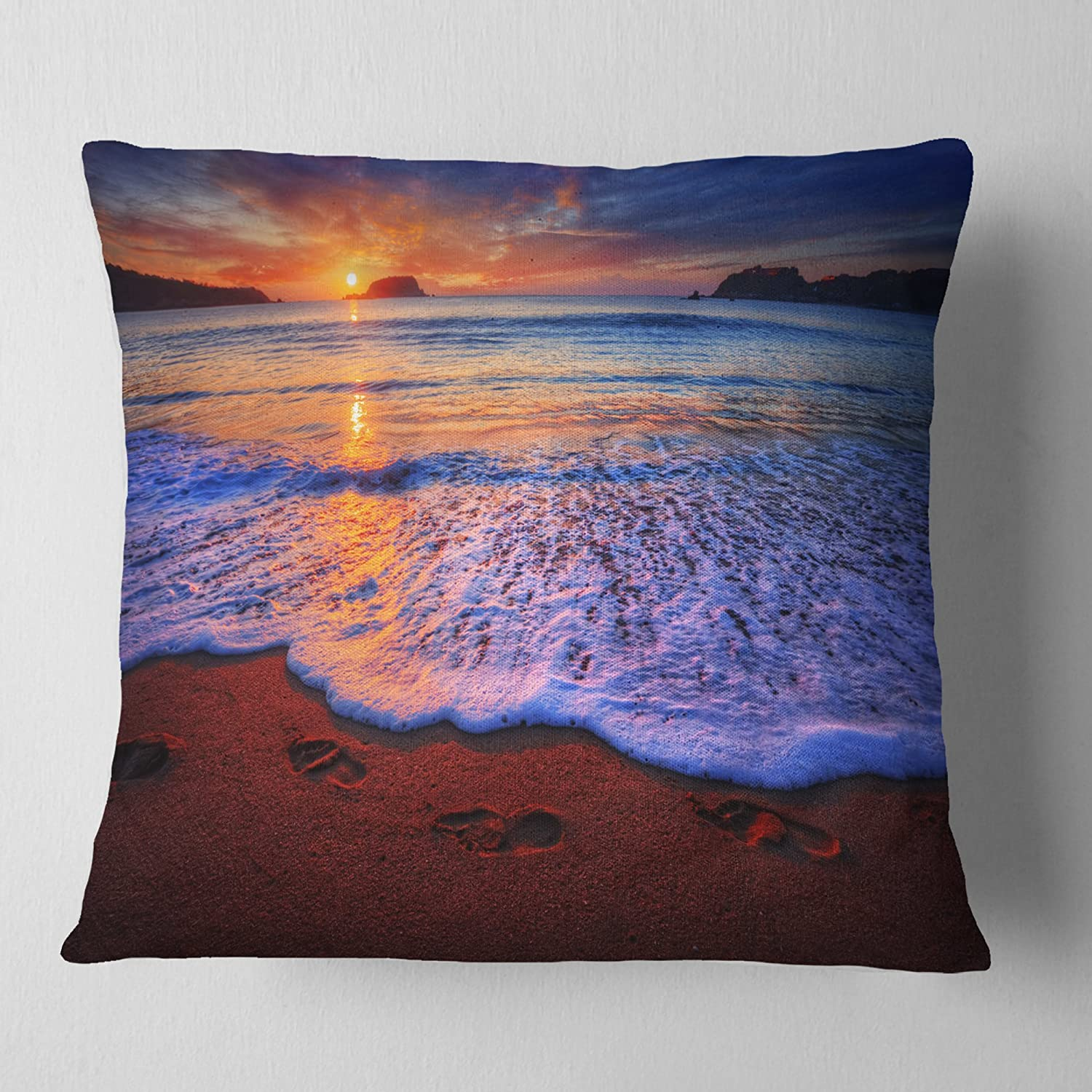 x 26 in in Insert Printed On Both Side Designart CU14498-26-26 Colorful Sunset Over Beautiful Shore Seashore Cushion Cover for Living Room Sofa Throw Pillow 26 in
