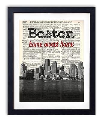 Boston Home Sweet Home Vintage Dictionary Art Print 8x10