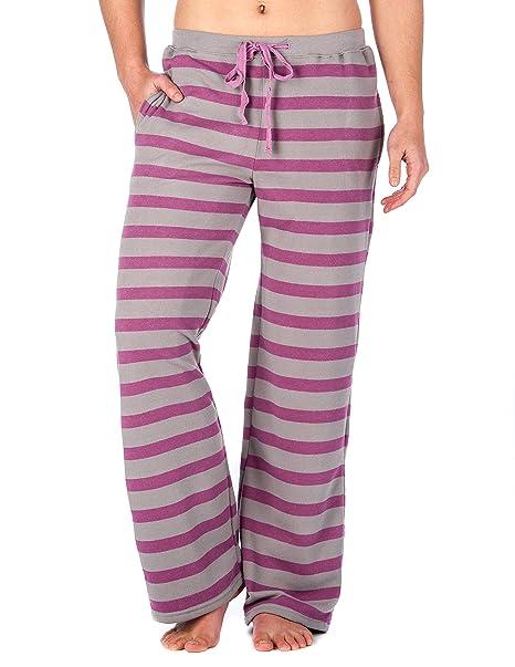 Pantalon Pijama con Algodón Peinado para Mujer - Gris-Fuschia - XL