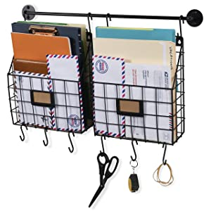 Wall35 Rivista Wall Mounted Metal Wire Baskets with Rail and Hooks - Rustic Design Multi-use Hanging File Folder - Mail Entryway Organizer - Kitchen Utensil Storage - Black