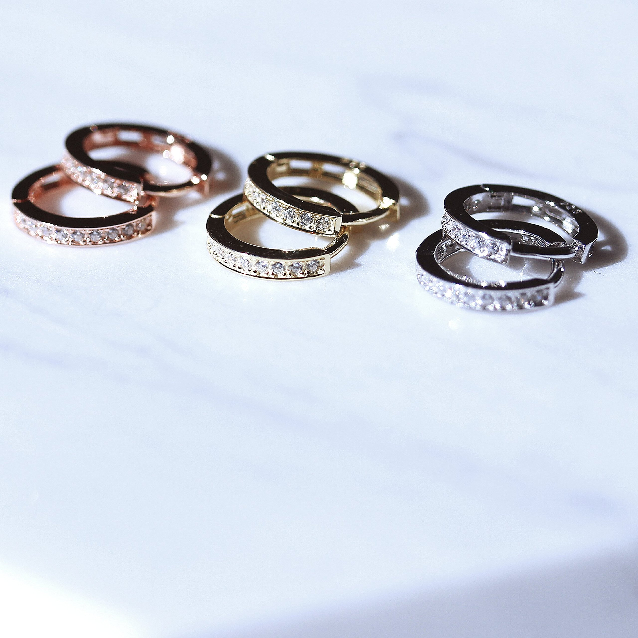 Yellow Gold Plated Sterling Silver Cubic Zirconia Huggie Hoop Earrings by Spoil Cupid (Image #2)