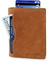 SERMAN BRANDS- RFID Blocking Bifold Slim Genuine Leather Thin Minimalist Front Pocket Wallets for Men Billfold - Made From Full Grain Leather