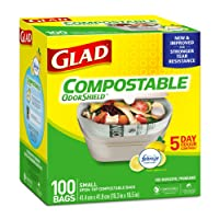 Glad 100% Compostable OdourShield Easy-Tie Bags, Small, Lemon Scent, 100 Bags