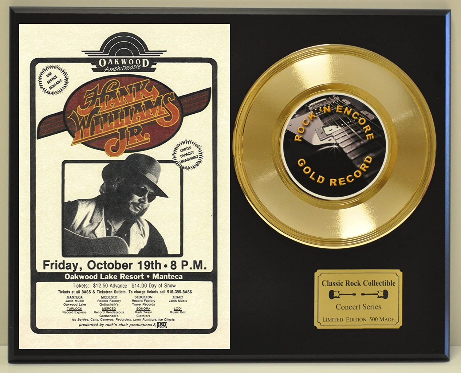 HANKS WILLIAMS JR Limited Edition Gold 45 Record Display. Only 500 made. Limited quanities. FREE US SHIPPING by  Classic Rock Collectibles