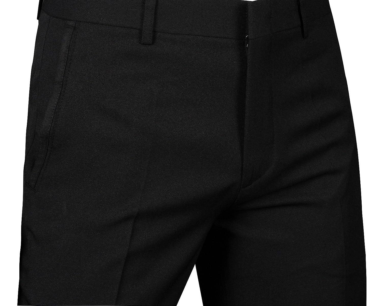 JEJEhomme Mens Slim Fit Dress Suits One Button Jacket Pants Set Solid Black