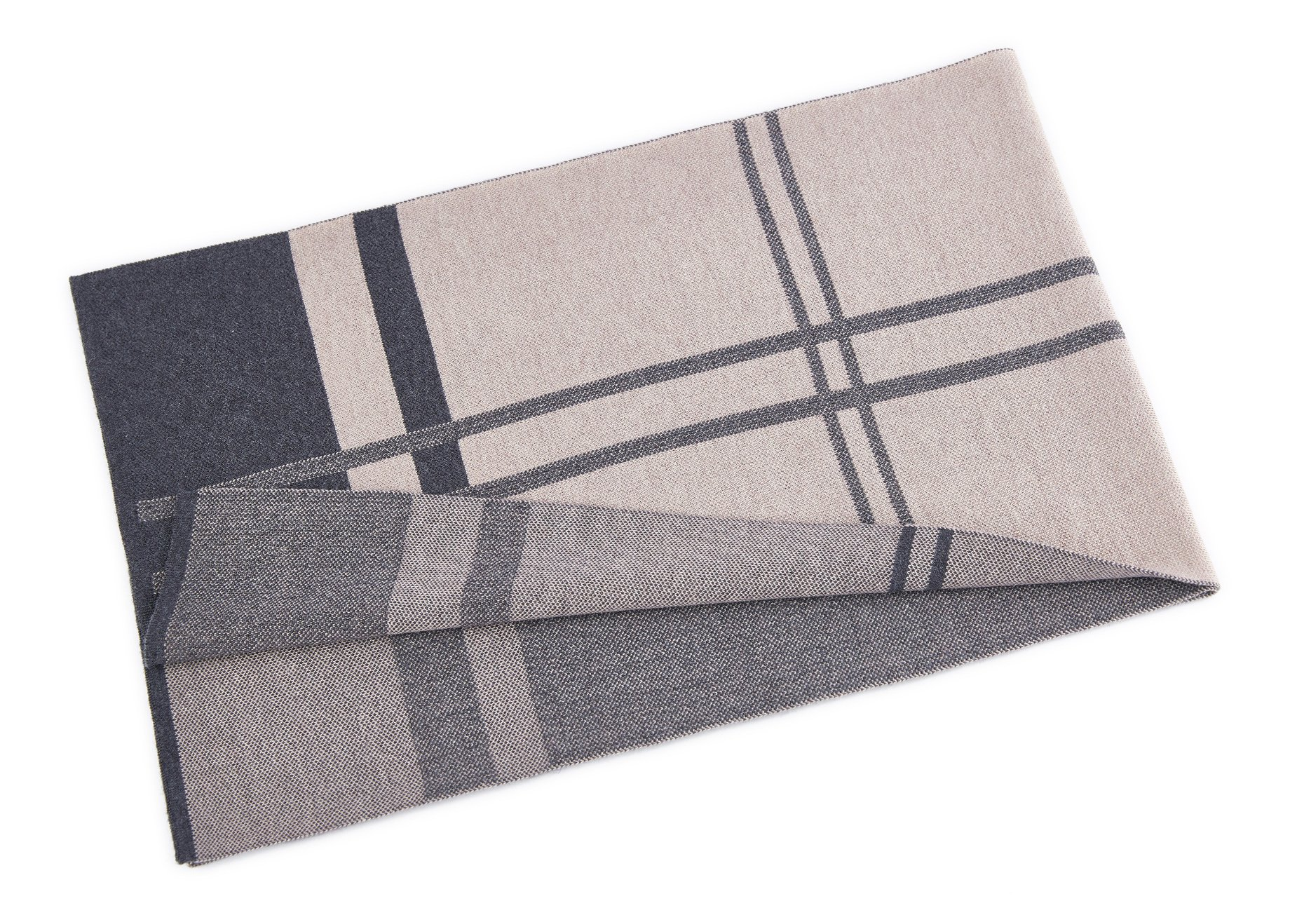 RIONA Men's Winter Cashmere Feel Australian Wool Soft Warm Knitted Scarf with Gift Box(Beige)