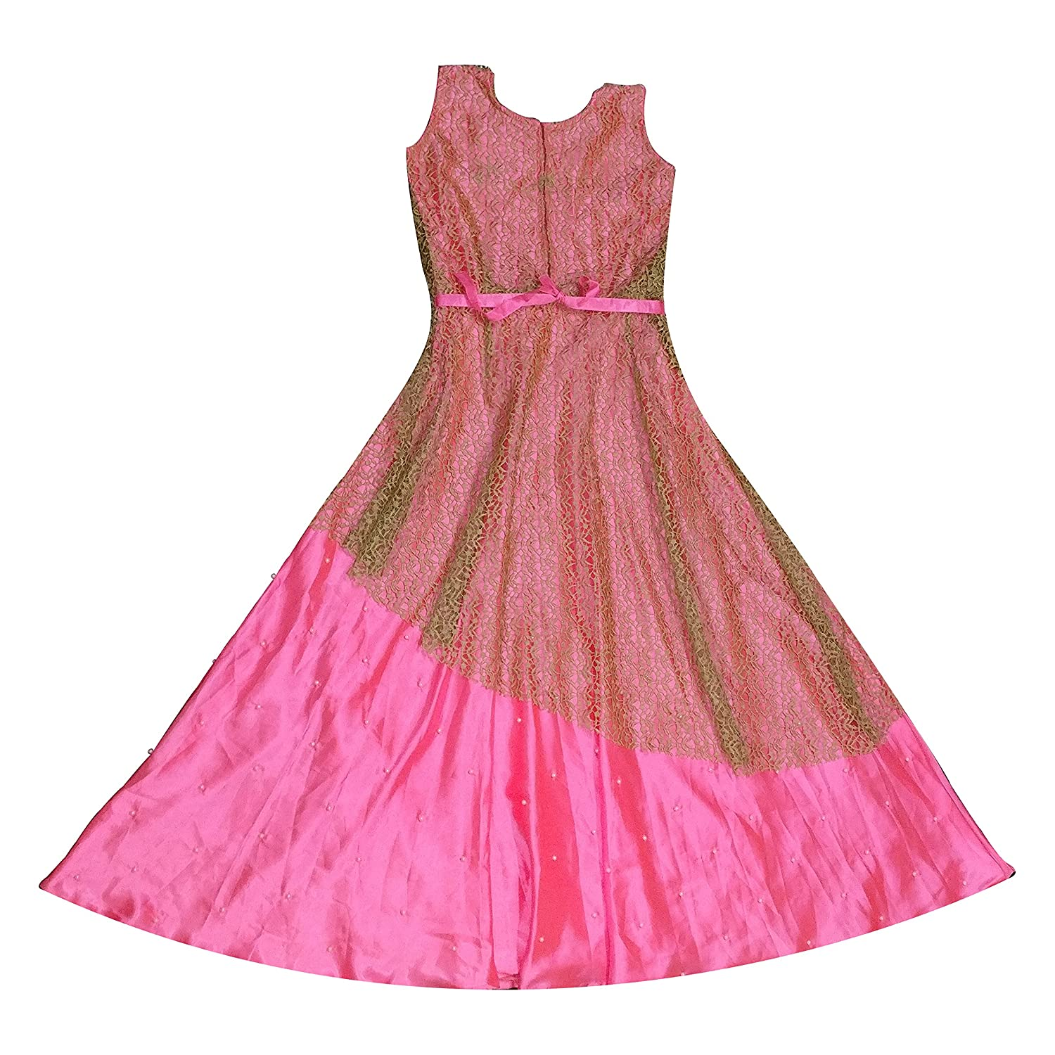 White Button Girl s Light Pink Heavy Chiffely Embroidery with Mottif Work  Readymade Birthday Wear Princess Kids Wear Gown Dress  Amazon.in  Clothing    ... 972198067f90