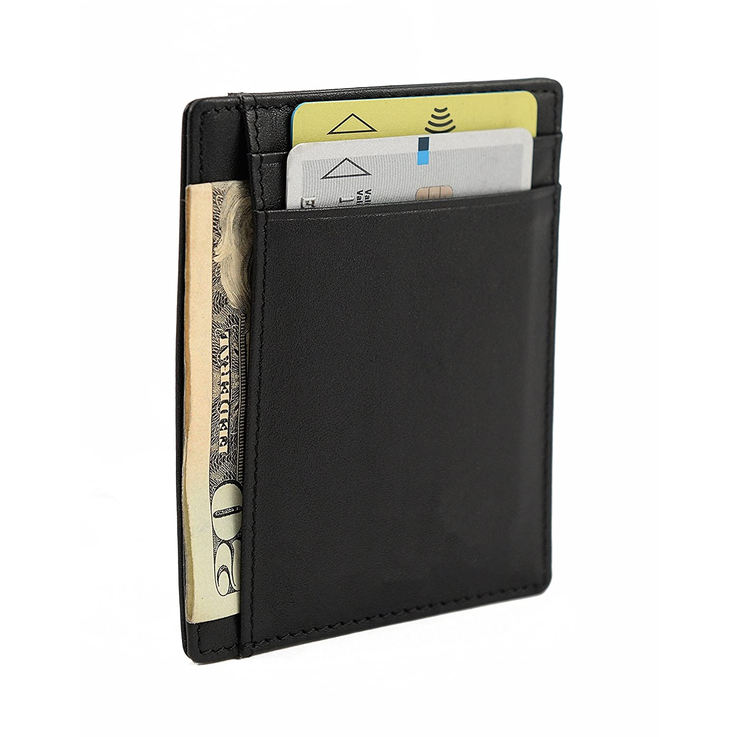 0c31d5df27a0 Slim card holder by Nomalite | Black designer RFID blocking wallet/credit  card organiser in PU leather for men and women. Compact and light: also fit  for ...