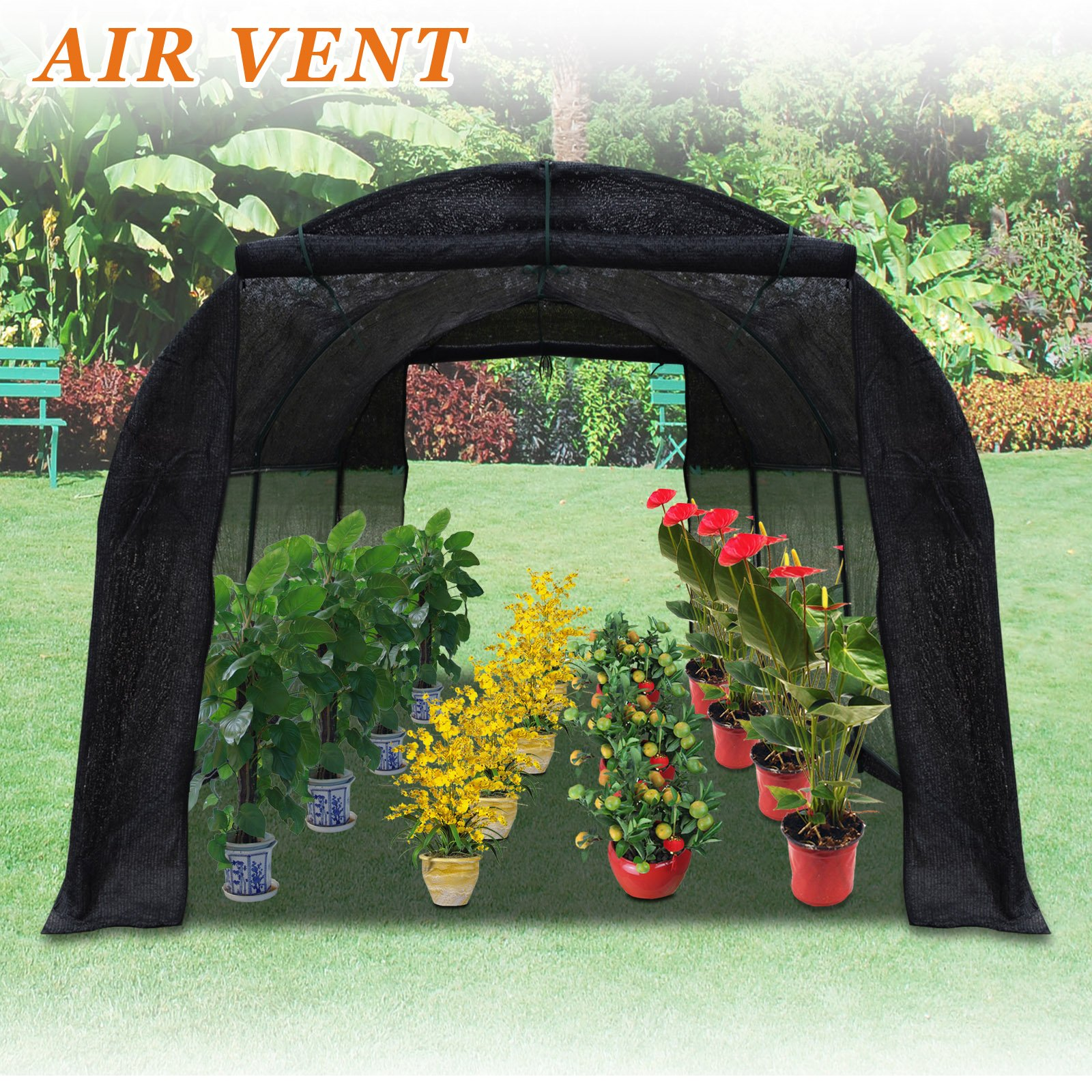 Strong Camel 80% Sunblock Shade Cloth GreenHouse Walk-In BLACK Greenhouse Outdoor Plant Gardening (10'X7'X6')