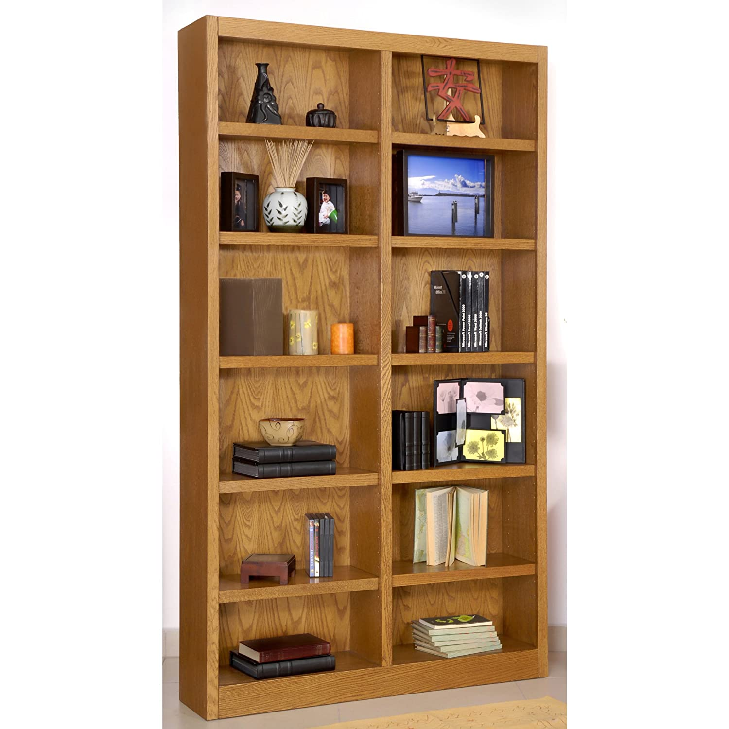 Concepts In Wood Double-wide 12-shelf Bookcase, MED OAK: Amazon.ca: Home &  Kitchen