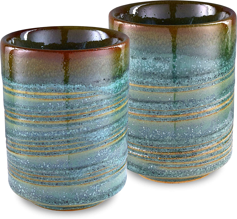 Mino Ware Traditional Japanese Yunomi Tea Cups, Set of 2, Sensuji Kinyou for Green Tea, Matcha Tea
