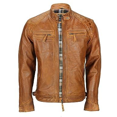 Blouson vintage style motard pour homme en cuir marron v eacute ritable  d eacute lav eacute  e0220323a0f