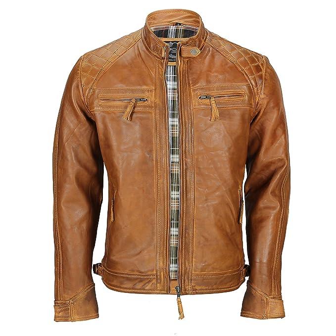 Chaqueta de piel suave (lavable), para hombre, de color marrón, estilo vintage, y con cremallera frontal, ideal para motociclistas