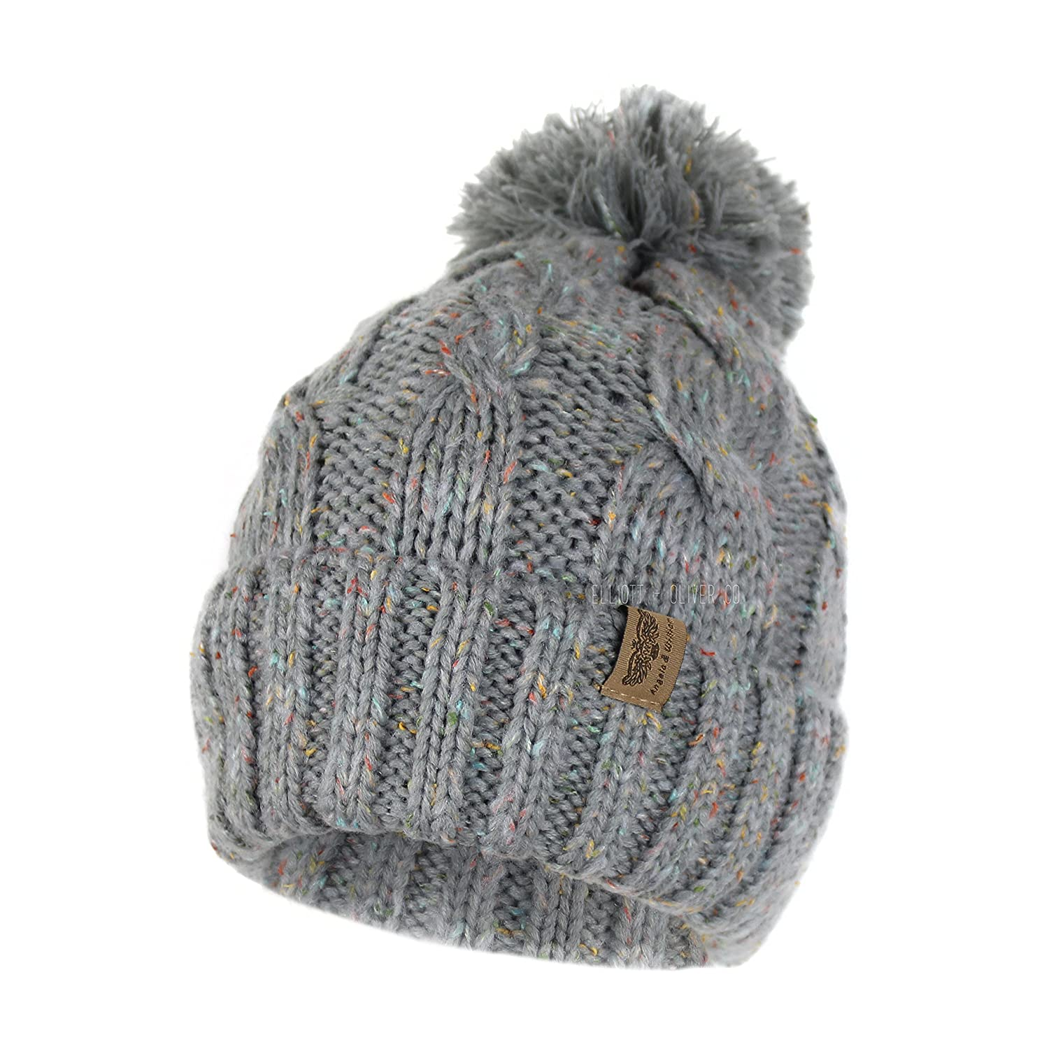 Soft Stretch Chunky Cable Knit Beanie Hat with Pom Pom and Sherpa Fleece  Lining (Confetti Grey) at Amazon Women s Clothing store  73b3ffc7b9e