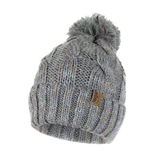 98c9227c8 Soft Stretch Chunky Cable Knit Beanie Hat with Pom Pom and Sherpa Fleece  Lining Speckled Winter Skully