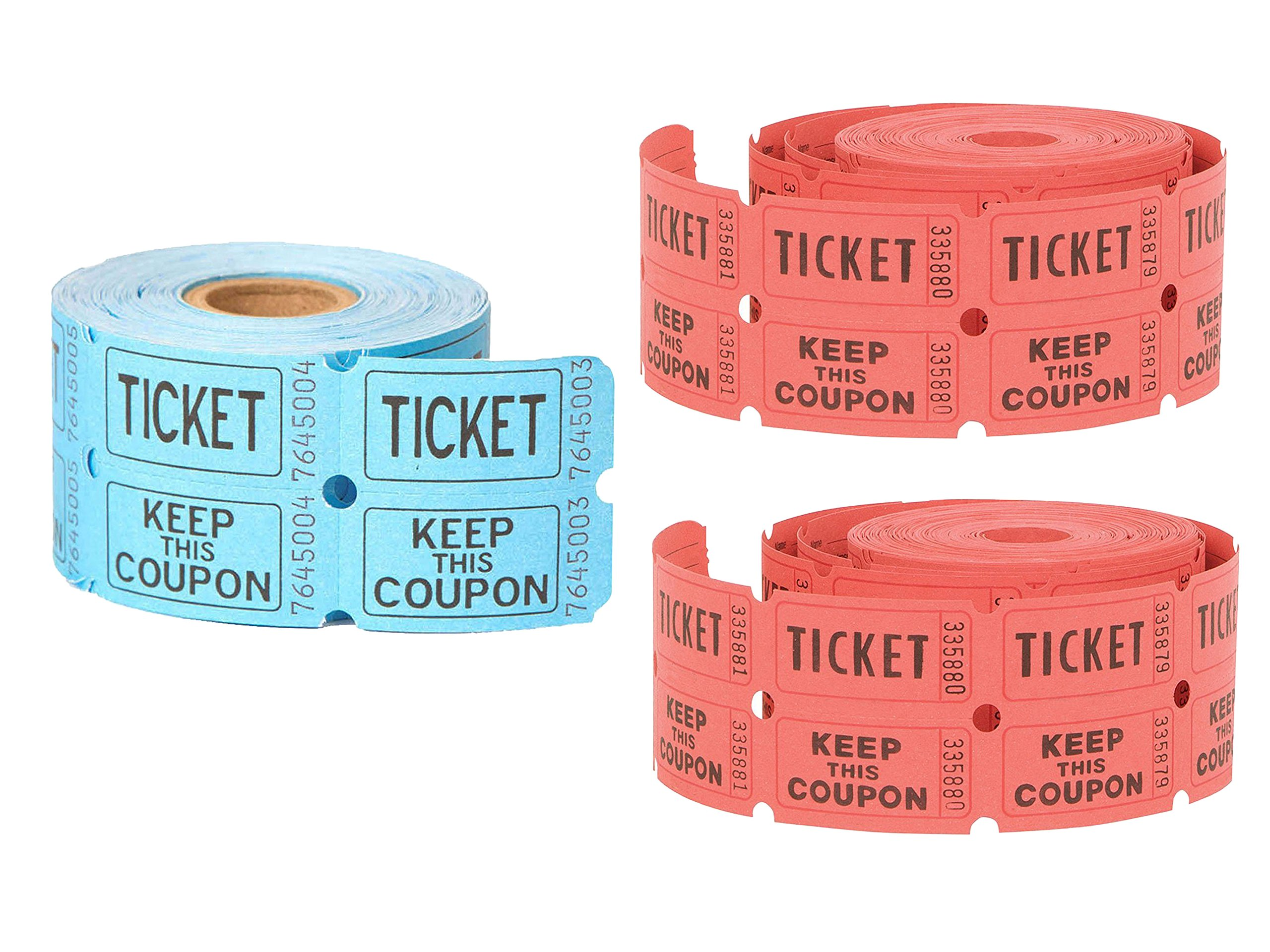 3 Roll of 500 Unique Industries Double Roll of Raffle Tickets (Color May Vary) Bundled by Maven Gifts