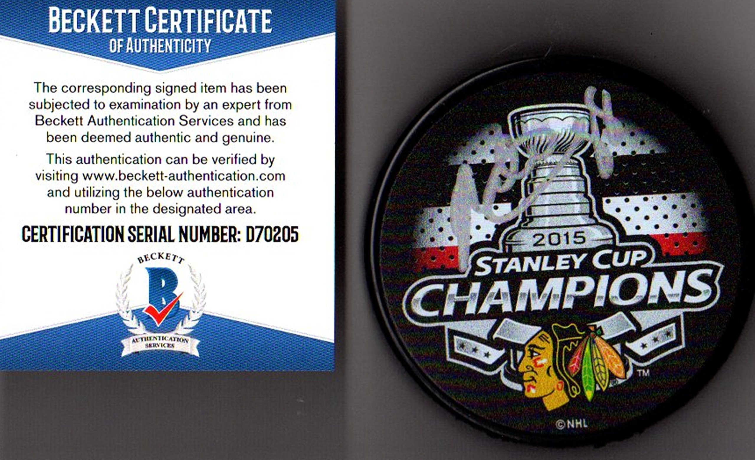 Beckett BAS Patrick Kane Autographed Signed 2015 Chicago Blackhawks Stanley Cup Champions Puck