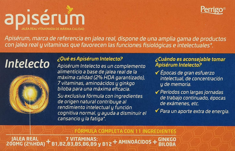Apisérum Intelecto Cápsulas - Jalea Real, Vitaminas, Aminoacidos y Ginkgo Biloba - Multivitamínico - Épocas de Cansancio, Fatiga, Exámenes: Amazon.es: Salud ...
