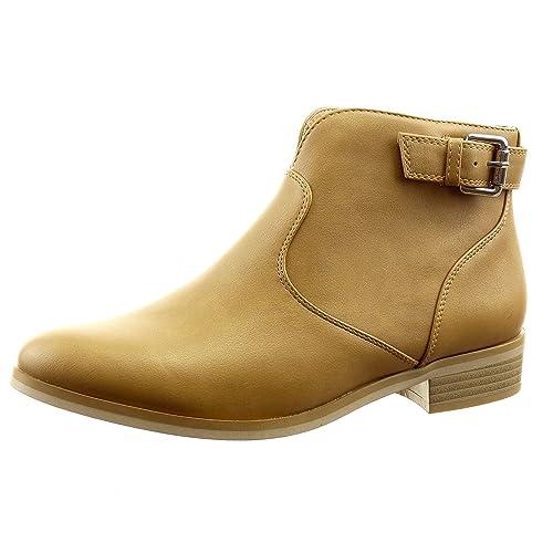 Sopily - Zapatillas de Moda Botines cavalier low boots Tobillo mujer cremallera Hebilla Talón Tacón ancho 3 CM - Camel RMX-1-BN-14204 T 41: Amazon.es: ...