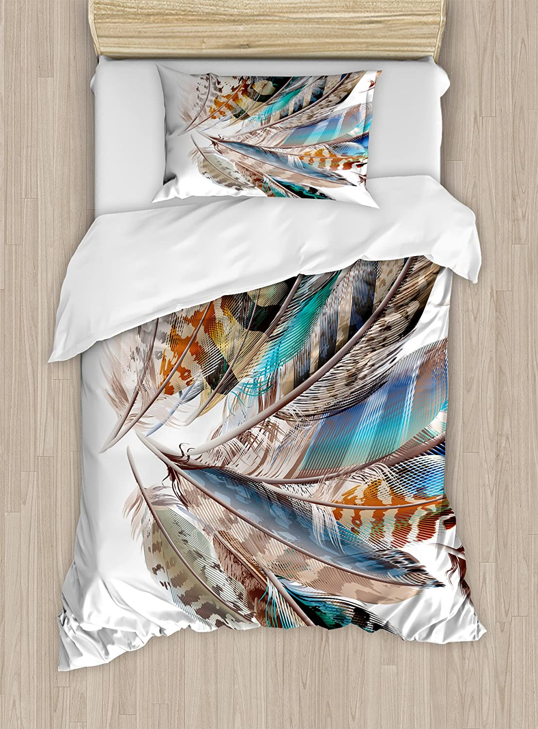 Ambesonne Feathers Duvet Cover Set, Vaned Types and Natal Contour Flight Bird Feathers and Animal Skin Element Print, Decorative 2 Piece Bedding Set with 1 Pillow Sham, Twin Size, Teal Brown