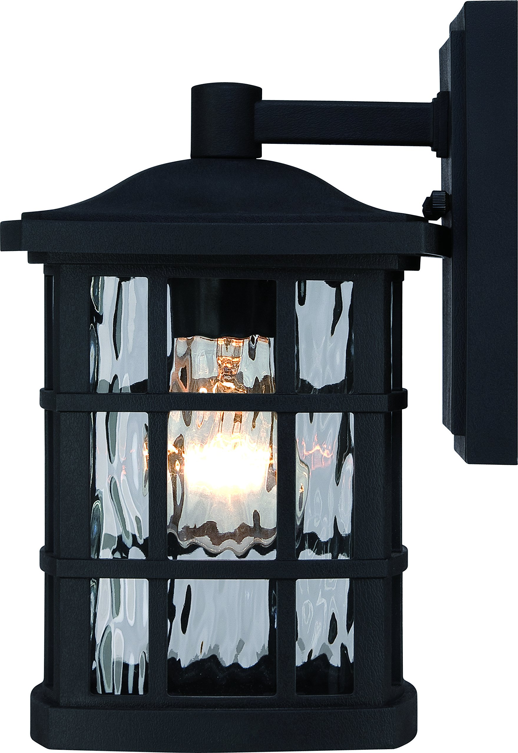 Luxury Craftsman Outdoor Wall Light, Small Size: 10.5'' H x 6.5'' W, with Tudor Style Elements, Highly-Detailed Design, High-End Black Silk Finish and Water Glass, UQL1230 by Urban Ambiance