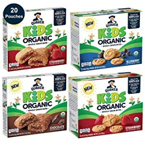 Quaker Kids Organic Multigrain Bars and Bites, Sampler Pack, 20 Pouches, USDA Certified Organic