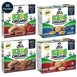 Quaker Kids Organic Multigrain Bars and Bites, Sampler Pack, 20 Pouches, USDA Certified Organic