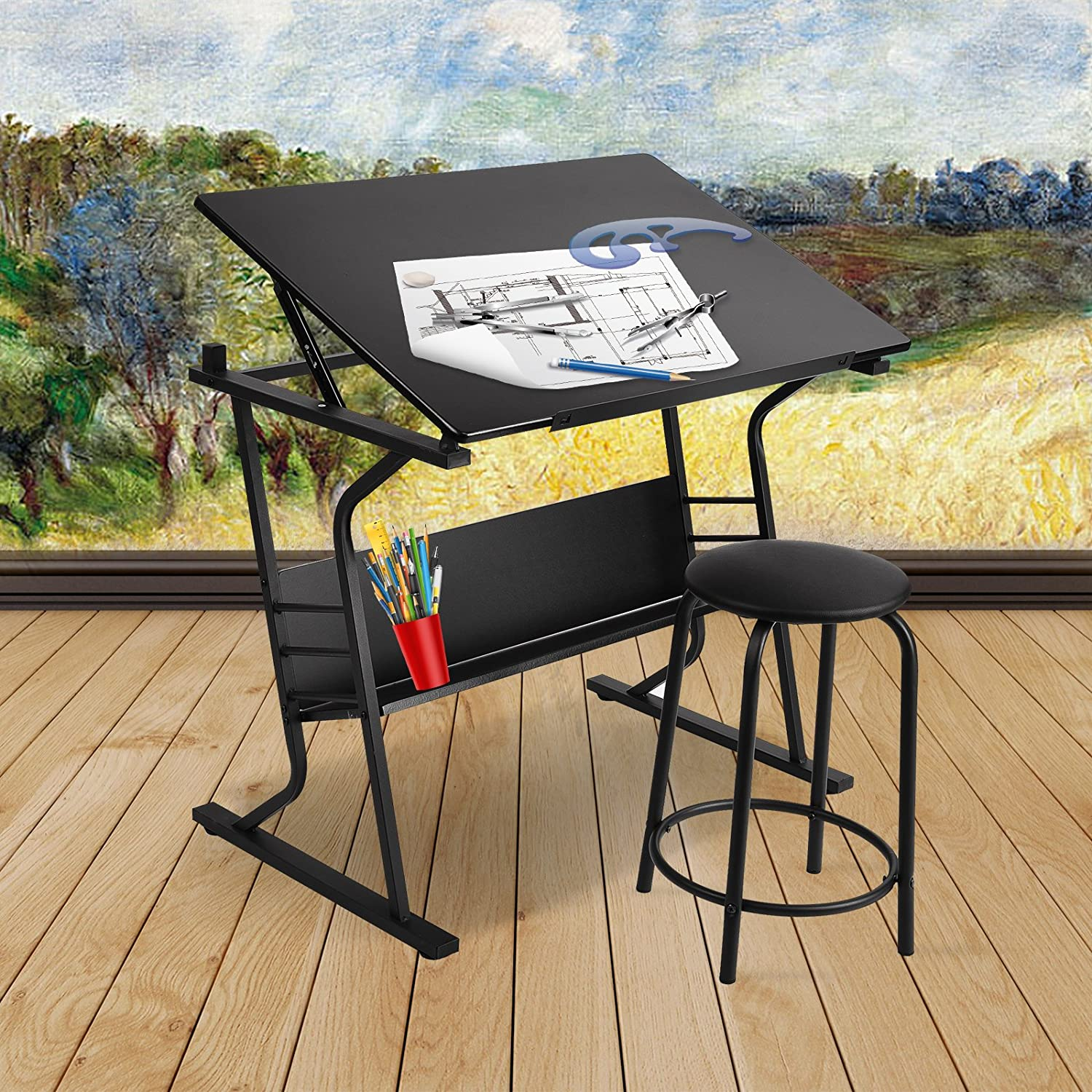 Mecor Adjustable Drawing Desk Drafting Table Art Craft Station with Stool,Black