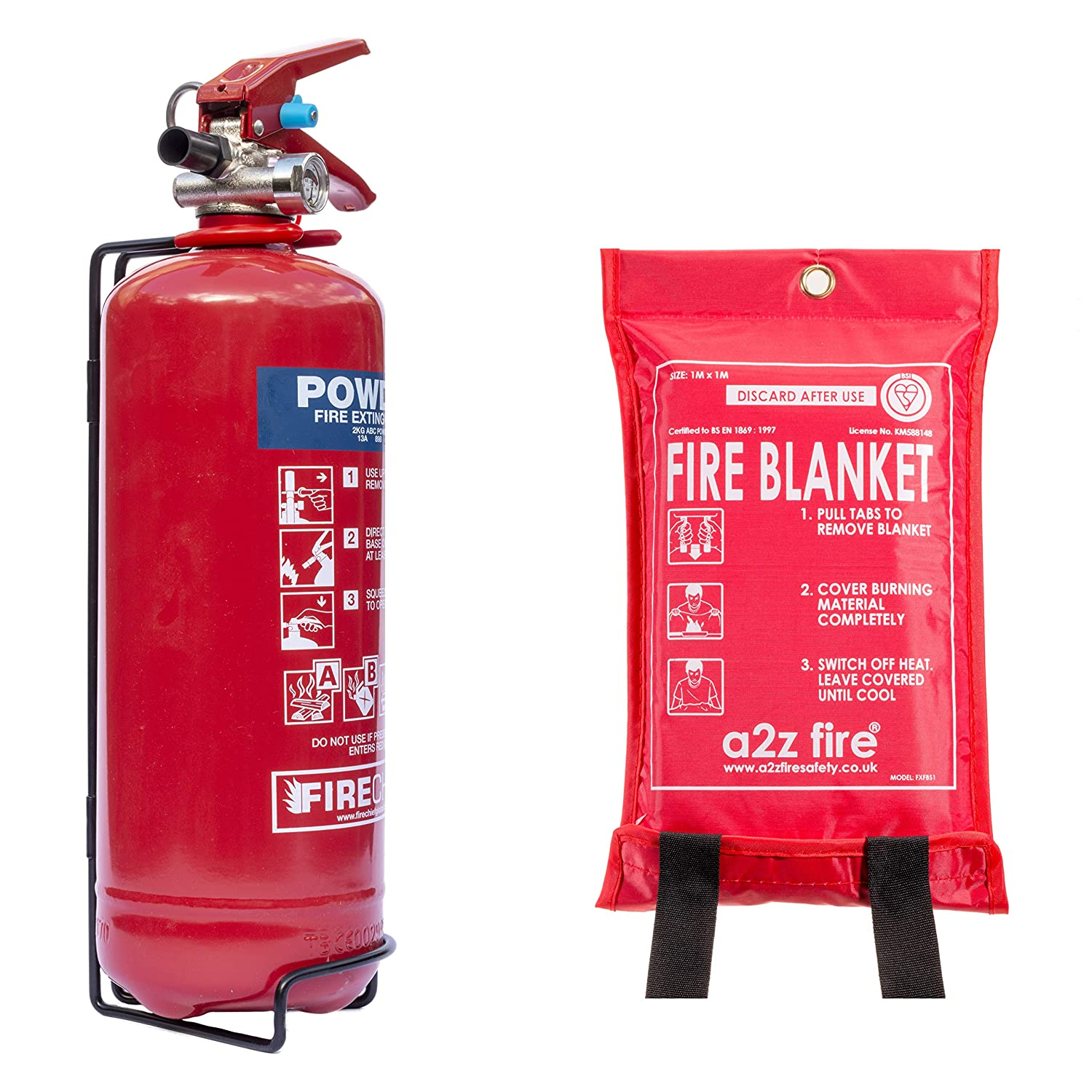 Fire Extinguisher Home Safety Kit with Fire Blanket. British Standard BSi Kitemarked, CE Approved & BS EN3 Rated. Premium 2kg Powder Extinguisher & Blanket Range with Full 5 Year Warranty that is the Perfect Fire Safety Kit for Home & Kitchen as well as Ca