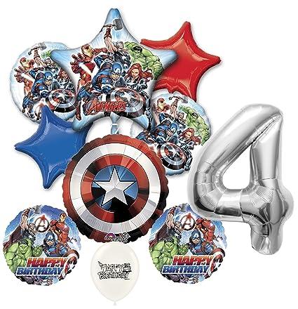 Amazon.com: Plata Número 4 Vengadores de Marvel fiesta de ...