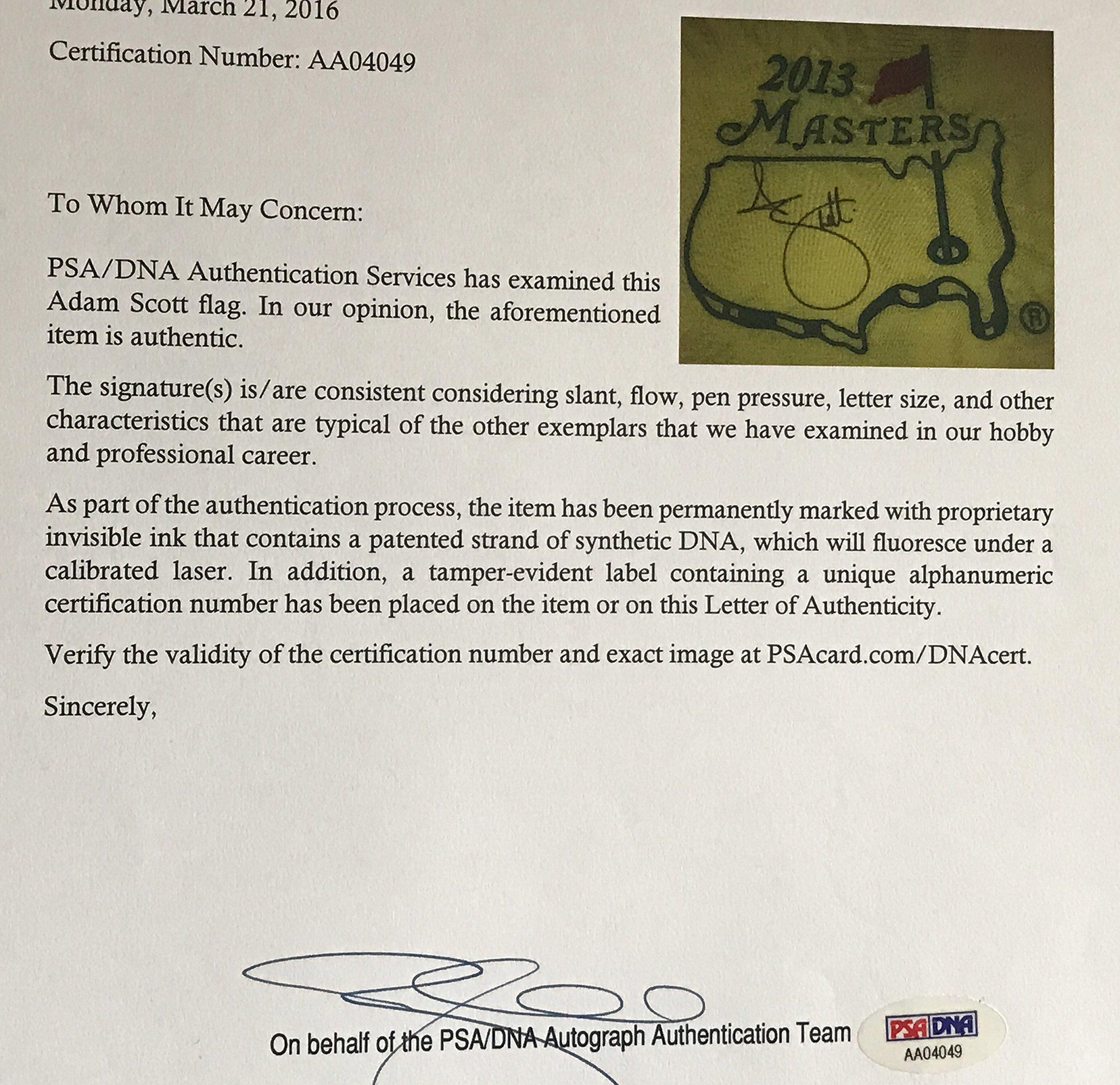Adam Scott signed 2013 Masters golf Flag augusta national psa dna coa