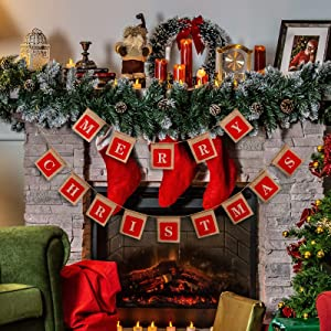 Merry Christmas Banners,Holiday Christmas DecorationBurlapBanner, Christmas Sign Hangings for Windows, Door Entry, Office, Fireplace,Wall