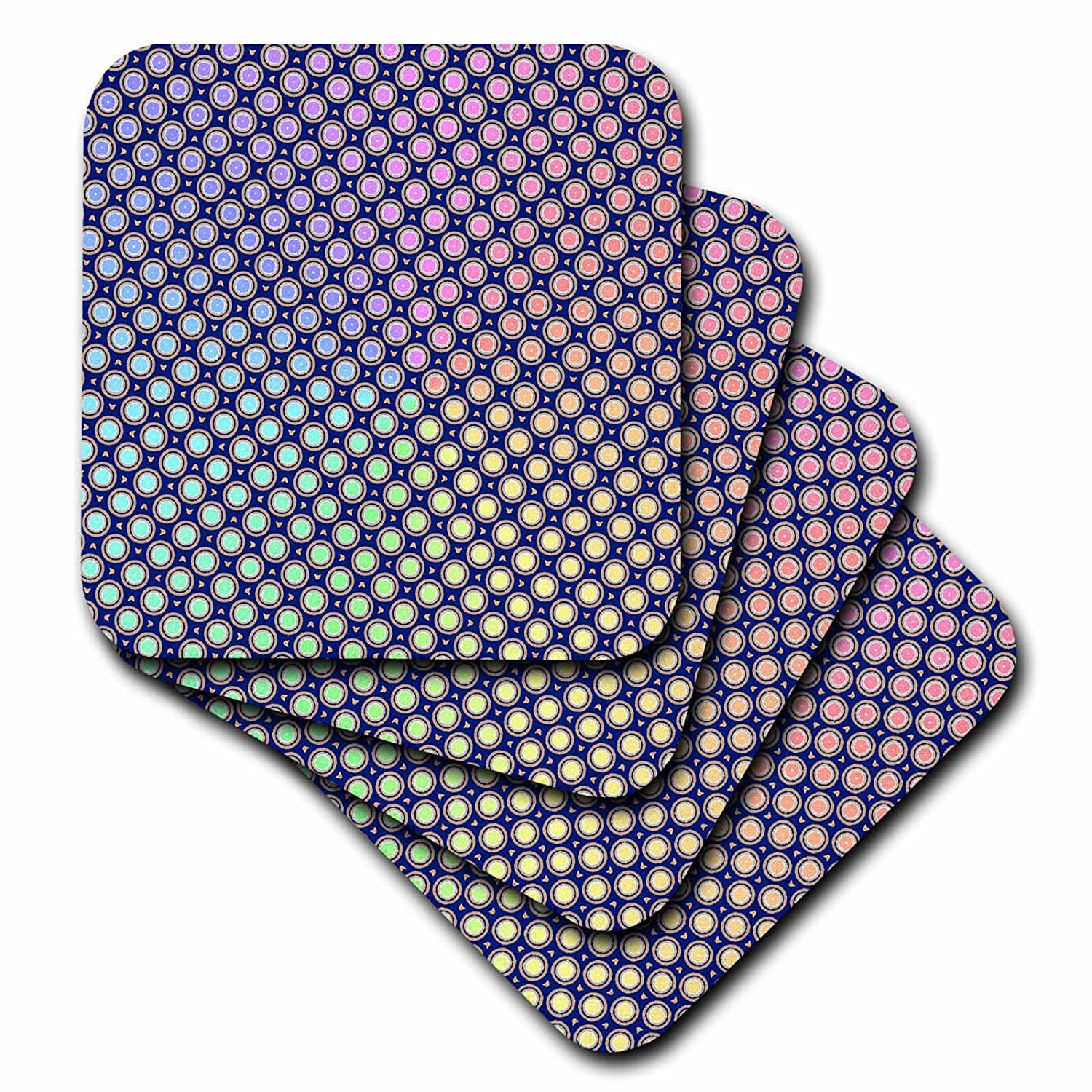 Set of 4 3dRose CST/_56025/_1 Color Changing Dots Soft Coasters