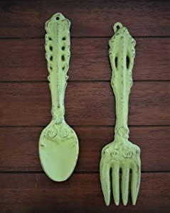 Fork and Spoon Wall Hanging/Apple Green Or Pick Your Color/Rustic Kitchen Wall Décor/Cast Iron Wall Décor/Oversized Utensils Decor