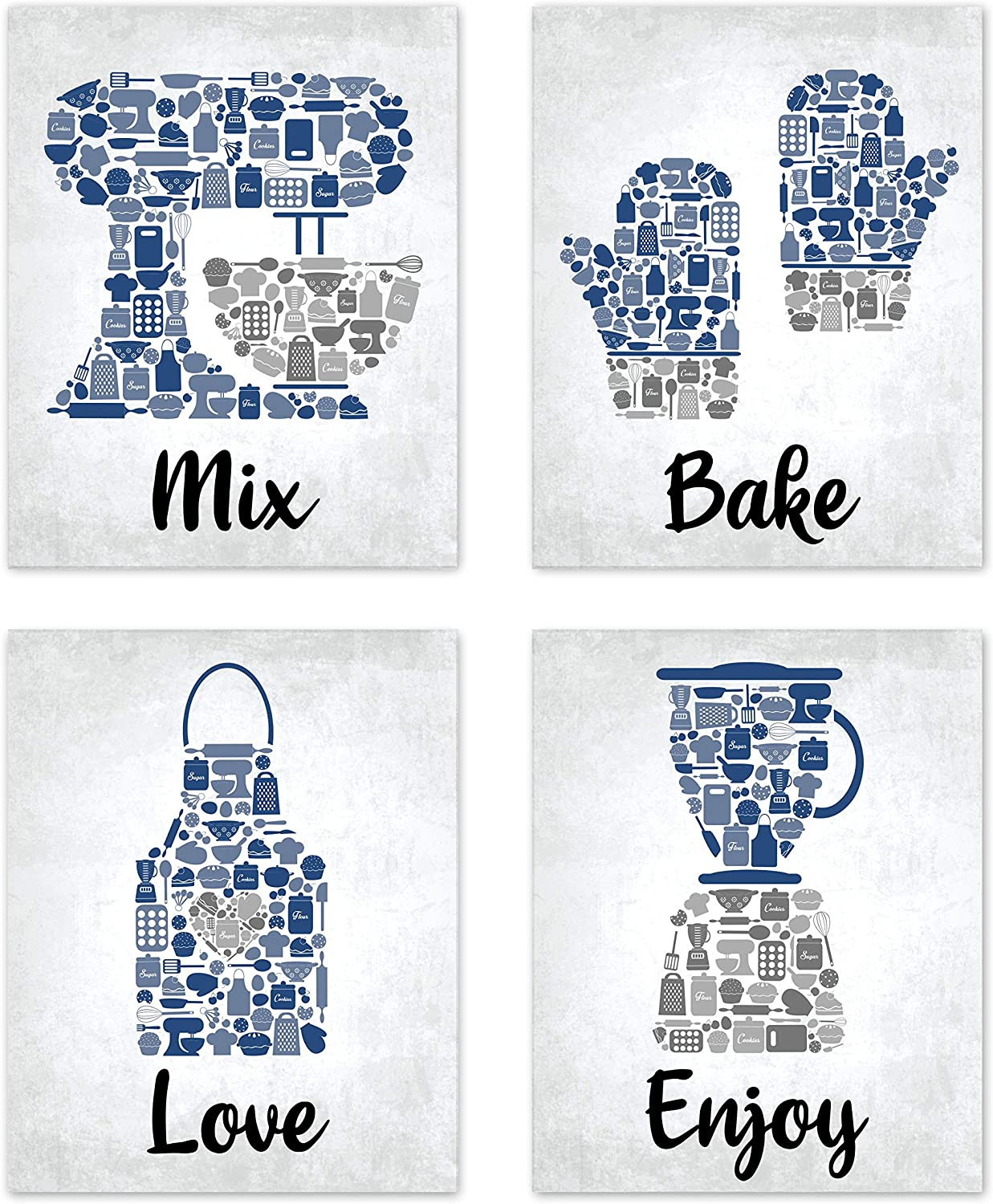 """Bake Mosaic Blue Cobalt Aqua Grey Retro Inspirational Restaurant Utensil Food Wall Art Chef Baking Prints Posters Signs Sets for Rustic Country Kitchen Decor Home House Decor Decoration Dining Room Funny Sayings Quotes Unframed 8"""" x 10"""""""