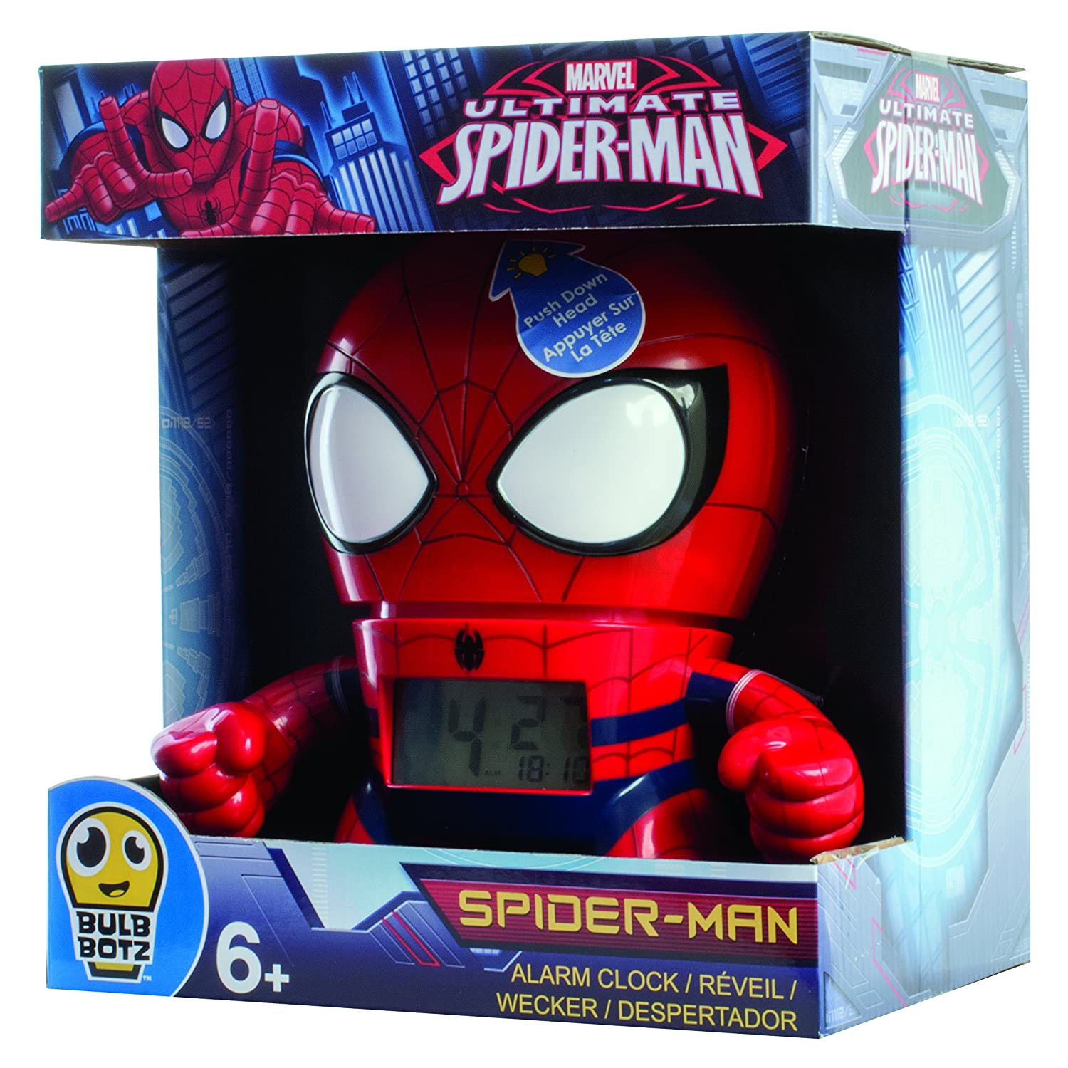 Kanaï Kids Marvel Alarm Clock – Spiderman – kkc039 – 19 cm, Multi-Coloured KANAÏ KIDS