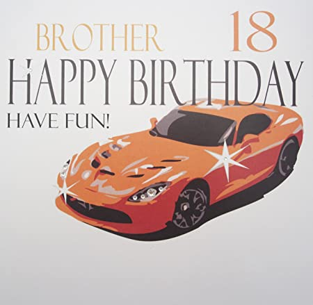 White Cotton Cards Xn75 18 Large Orange Sports Car Brother 18 Happy