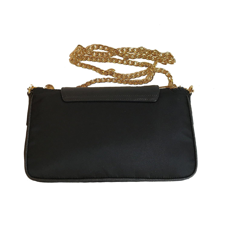 49948018cc Prada Women s Tessuto Saffian Crossbody 1BH085 Black  Handbags  Amazon.com