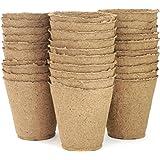 "Peat Pots for Plant Starters & Seedlings - Premium Organic Peat Moss Pots,100% Eco-Friendly & Biodegradable - Prevents Transplant Shock, - Enhanced Aeration - Bulk 30 Pack, 4"" (4"" 30 Pack)"