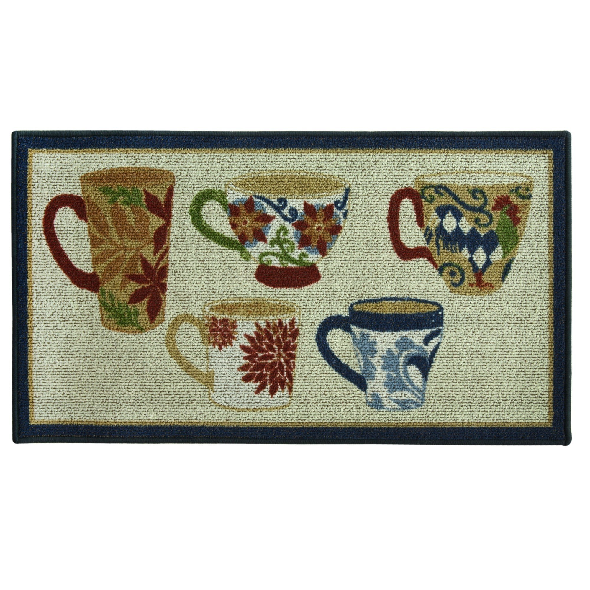 1 Piece 1'10 x 3'4 Blue Red Green Yellow Orange Floral Coffee Mugs Area Rug Rectangle, Indoor Novelty Country Coffee Cups Rooster Carpet Mat, Graphic Pattern Floral Leaves Kitchen Cottage, Nylon
