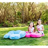 """Heart to Heart Girls Flower Floor Pillow Seating Cushion a Reading Nook, Bed Room Watching TV. Softer More Plush Than Area Rug Foam Mat. 20"""" Blue"""